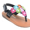 Flowers Infant Toddler Girl Thong Flat Sandals Black