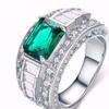 Green CZ Crystal Emerald Cut White Gold Plated Ring