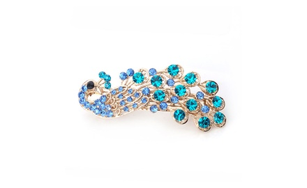 Hair Jewelry -- Sky Blue Peacock Clip