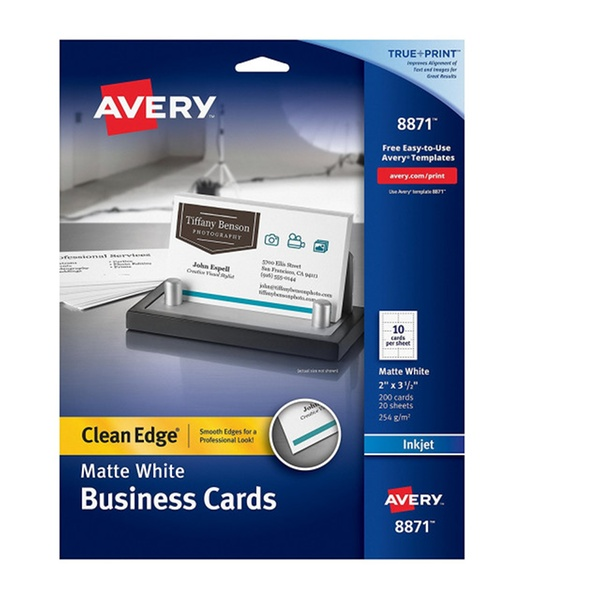 Avery 8871 Inkjet Matte Business Cards 2 X 3 1 2 White 10 Per