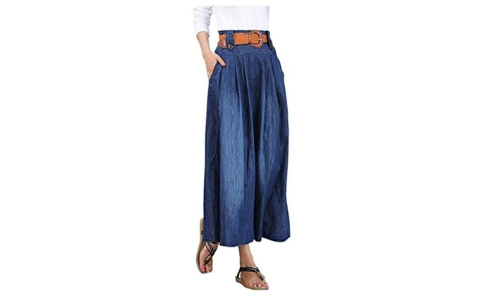 Women's Fashion Elastic Waist Denim Jean Full Skirt w/ Belt