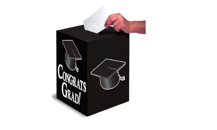 creative converting congrats grad card holder box black groupon