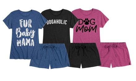 Women's Animal Lover Dog Mom Sleep Pajama Shorts Set S-4X