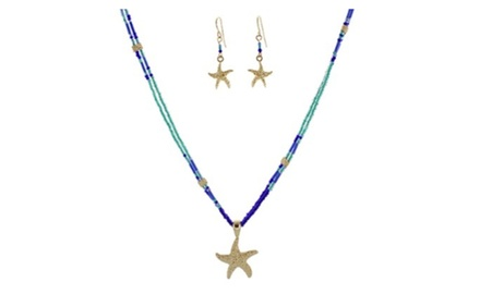 Starfish Pendant Seed Beads Necklace Set
