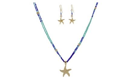 Starfish Pendant Seed Beads Necklace Set