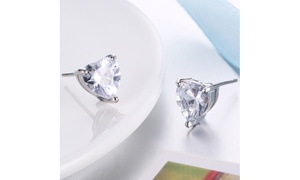 Classic Heart Stud Set in 18K White Gold- Available Colors By Golden NYC Jewelry