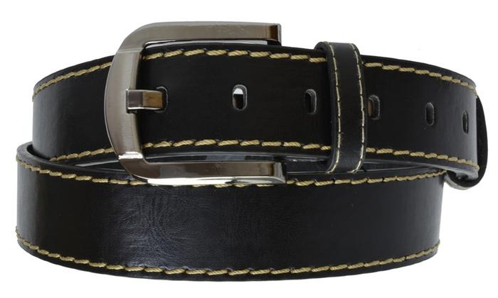 AFONiE Men's Casual Bonded Dress Leather Belt