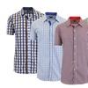 Men's Short Sleeve Slim-Fit Casual 100% Cotton Dress Shirt