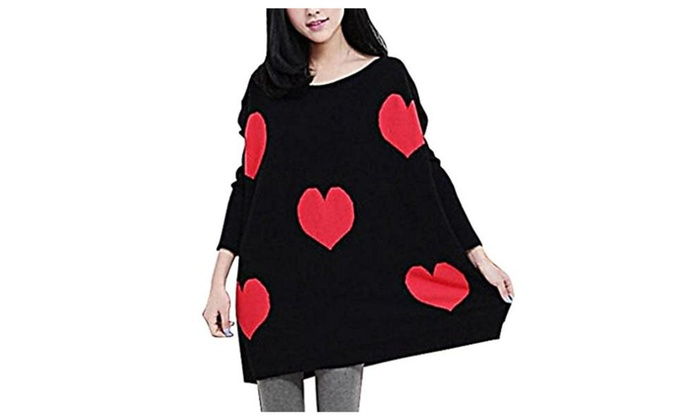 MTRNTY Women's Maternity Warm Knitted Sweater Love Heart Pullover S02