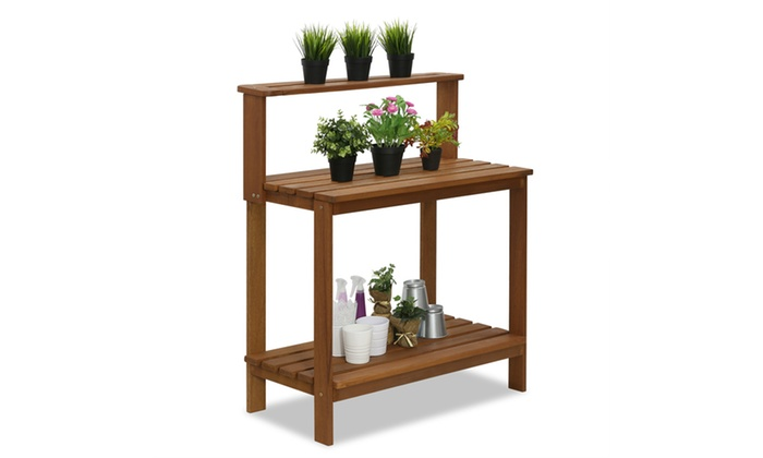 Stupendous Up To 46 Off On Outdoor Hardwood Potting Bench Groupon Goods Evergreenethics Interior Chair Design Evergreenethicsorg