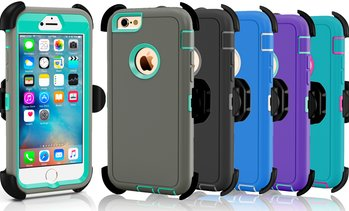 Apple iPhone 5 5S 5C SE 6 6S Plus Protective Shockproof Defender Case w/ Clip