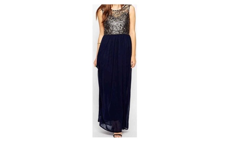 Women Golden Lace Deep V Neck Pleated Long Dress - JPWD113 (Goods Women's Fashion Clothing Dresses Special Occasion) photo