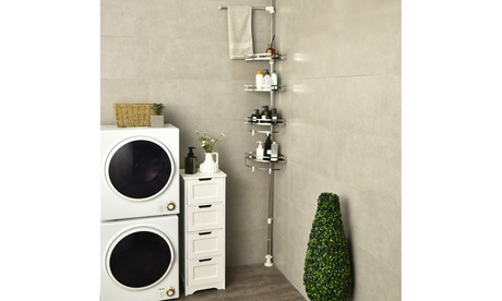 4-Tier Tension Shower Corner Caddy Adjustable Bathroom Shelf 304 Stainless Steel