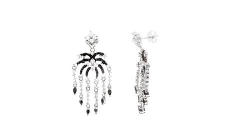 Two-Tone Sterling Silver CZ Chandelier Post Earring 667a08b5-4390-497d-86c0-cdec5cd42b74