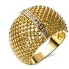 Hollow Design Gold-color and Rhodium Bright Zirconia  Women Ring