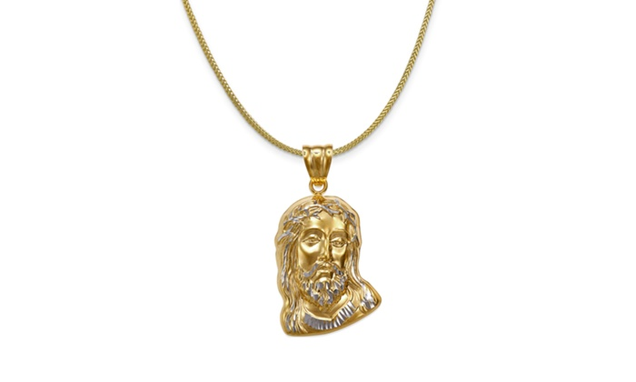 539788d17fd5 14K Gold Christ Head Pendant with Sterling Silver Chain By Paolo Milano