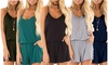 Womens Summer Loose V Neck Spaghetti Strap Short Jumpsuit Rompers