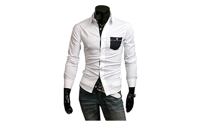 Men Plaid Turn Down Collar Slim Fit Casual Bottoming Shirts White - White / US L(Asian XL)
