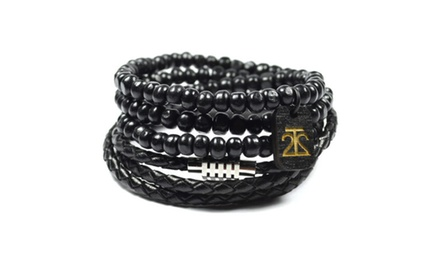 2 Pack Leather and Bamboo Bracelet Black