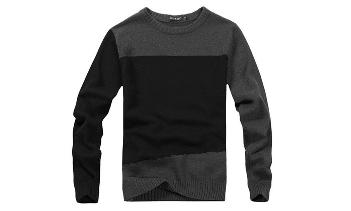 Men's Crew Neck Ribbed Long Sleeve Slim Fit Pullover Sweater