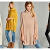 Cable Knit Cowl Neck Cape Poncho/Sweater