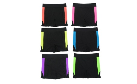 Women 6 Pack Seamless Color Stripes Solid Color Sports Yoga Shorts 40867ab6-a6d4-465f-b60e-5693c4721dab