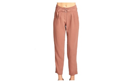 High Rise Long Leg polyester Woven Trouser w/double metal trim belt