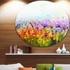 Abstract Cosmos of Colorful Flowers' Large Flower Metal Circle Wall Art