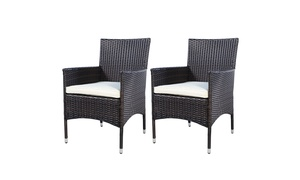2PC Chairs Outdoor Patio Rattan Wicker Dining Arm Seat With Cushions