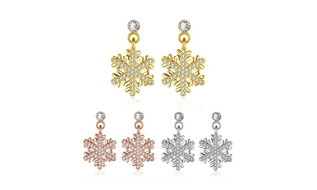 c76447b04 18K Gold Plated Dangling Swarovski Elements Pav'e Snowflake Earrings (Goods  Jewelry & Watches