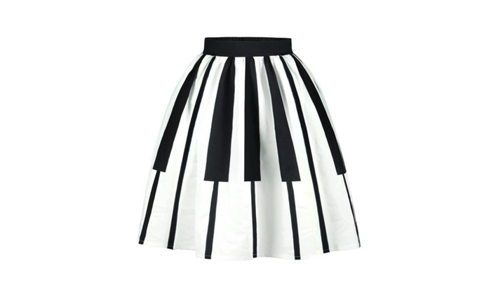 Women's High Waist Piano Printing Pleated Skirt Midi Skater Skirt