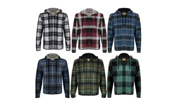 Men's Soft Sherpa Lined Zip Up Two Pocket Long Sleeve Flannel Hoodie (S-2XL)