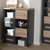 Pandora Dark Grey and Light Brown Two-Tone 4-Drawer Storage Cabinet