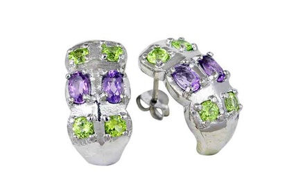 Amethyst and Onyx Green Black 925 Sterling Silver Women Stud Earring 3 Pair Set