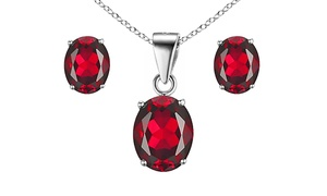 6.00 CTTW Sterling Silver Ruby Earrings and Necklace by Valencia Gems