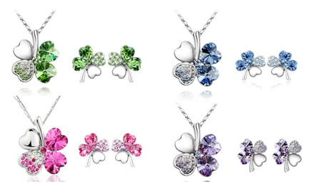 KATGI 18K White Gold Plated Austrian Crystal Lucky Charm Four Leaf Clover Necklace & Earrings SET