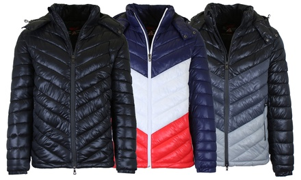 Men's Heavyweight Quilted Hooded Puffer Bubble Jacket (Sizes, S to 2XL)