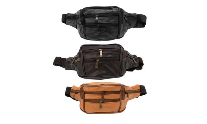 Hiking Motorcycle Vintage Leather Waist Pack Pouch Bag for Men's