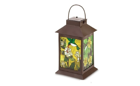 The Stained Glass Panels Solar Powered Floral Stylish Lantern 9d06e9ad-5c69-4259-a863-d3bd509f437c