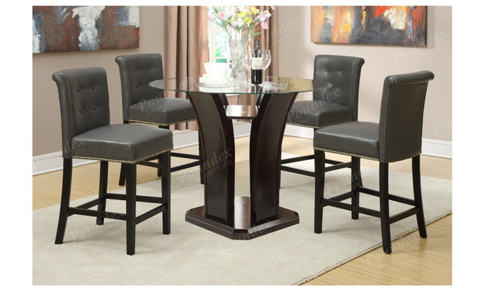 Set Of 2 Dining High Counter Height Chair Bar Stool 24 Quot H Nailhead Trim Groupon
