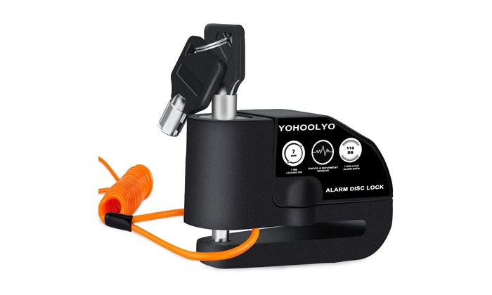 YOHOOLYO Disc Lock Alarm Motorcycle Alarm Padlock with 110db Alarm Sound for