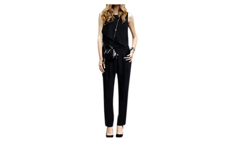 Womens's Sleeveless Vest Siamese Trouser Jumpsuit - JPWJ019