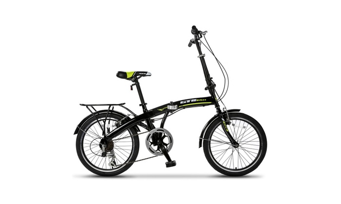GTM 20″ 6 Speed Foldable Bicycle Folding Bike Shimano Hybrid ,Green