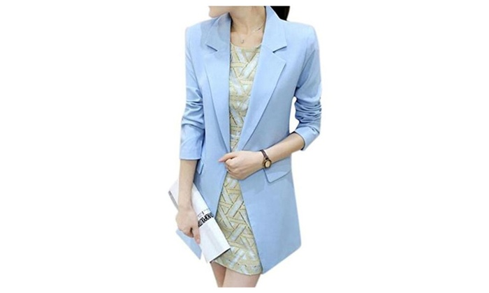 Womens Lapel Long Sleeve Skinny Suit Coat Long Fit Blazer Outerwear