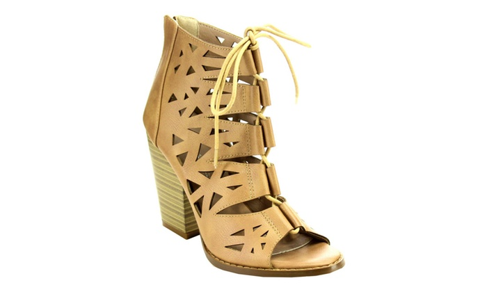 Beston C24 Women's Laser Cut Out Lace Up Back Zip Chunky Ankle Booties