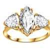 14k gold plated silver ring, marquise cut topaz ring, 3-stone ring