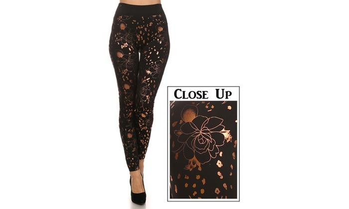 Floral Cheetah Slick Print Leggings