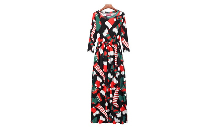 women christmas print long sleeve dress ladies party maxi dress