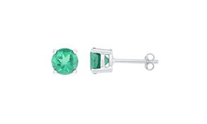 Sterling Silver Womens Round Lab-Created Emerald Solitaire Stud Earrings