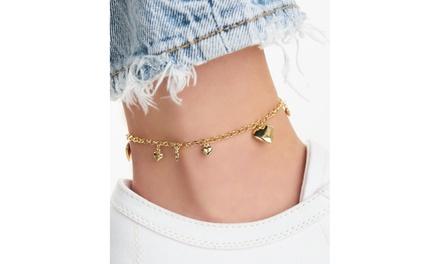 18k Gold Multi Heart Charm Anklet